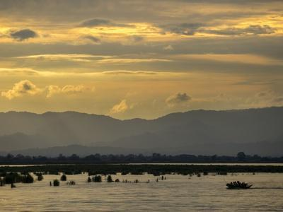 A View of Mountains Beyond the Irrawaddy River at Sunset