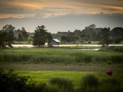 A Small House on Stilts Beside the Irrawaddy River