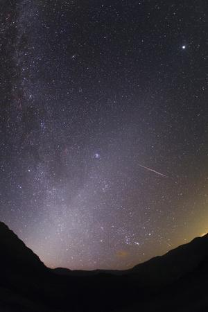 Meteors of the Perseid Meteors Shower Photographed with the Milky Way and Zodiacal Light