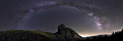 The Arc of the Milky Way Above the Rock That Holds Ruins of the Mountain Fortress of Alamut