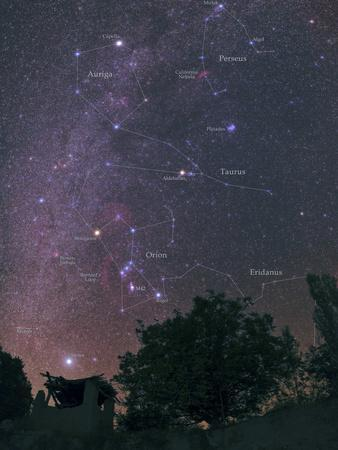 The Milky Way from Sirius to Constellations Orion, Taurus, and Auriga over a Tree and a Hut