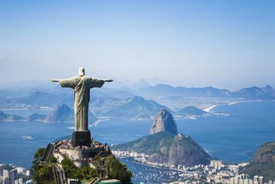 Aerial View of Christ the Redeemer Statue over Looking Rio De Janeiro Located