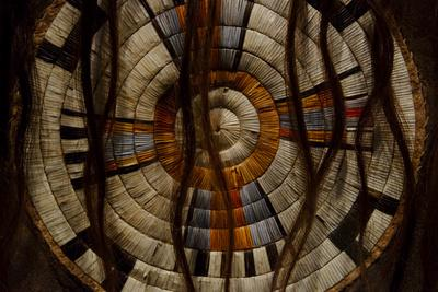 Close Up of a Plains Indian's Artwork of Woven Concentric Circles and Bison Hair