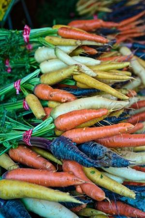 Multicolored Carrots at a Farmers' Market