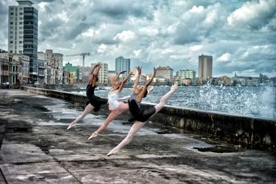 Ballerinas from the National Ballet of Cuba Dance on Havana's Malecon