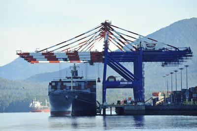 Giant Cranes Load a Massive Container Ship Moored in Prince Rupert's Harbor
