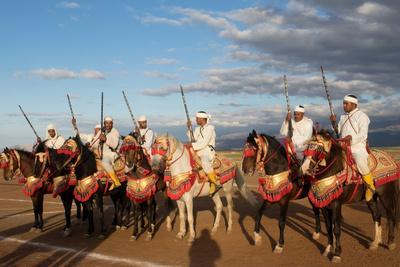 Berber Horsemen Lined Up for a Fantasia, Dades Valley, Morocco