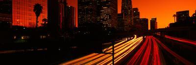 Downtown Traffic at Night, Los Angeles, California