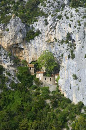 Hermitage in Galamus Gorge, French Pyrenees, France