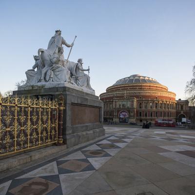 Exterior of the Royal Albert Hall from the Albert Memorial, Kensington, London, England, UK