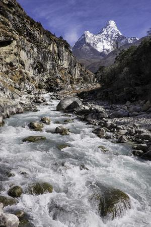 The Kumba Valley in Nepal with Ama Dablam in the Background, Himalayas, Nepal, Asia