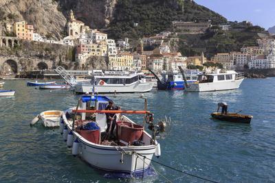 Fisherman in Fishing Boat in Amalfi Harbour