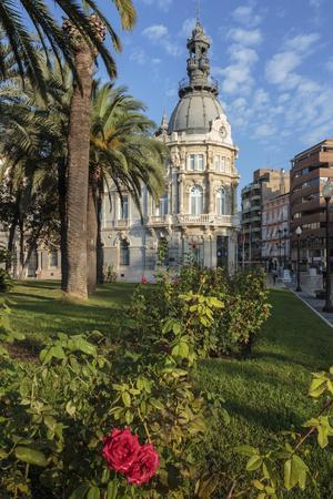 Town Hall under a Cloud Dappled Blue Sky with Palm Trees and Roses, Cartagena, Murcia Region, Spain