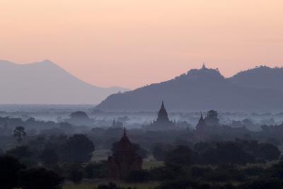 Temples, Pagodas and Stupas in Early Morning Mist at Sunrise, Bagan (Pagan), Myanmar (Burma)