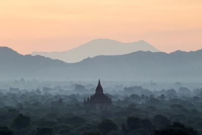 Temple in Early Morning Mist at Dawn, Bagan (Pagan), Myanmar (Burma)