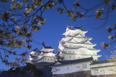 Himeji Castle, at Dusk, Himeji, Kansai, Honshu, Japan