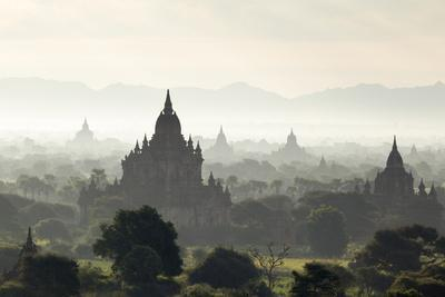 North and South Guni Temples Pagodas and Stupas in Early Morning Mist at Sunrise