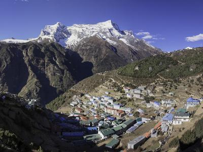 The Town of Namche Bazaar with the Kongde Ri (Kwangde Ri) Mountain Range in the Background
