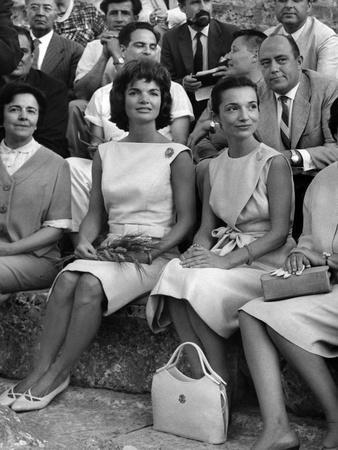 Jackie Kennedy and Her Sister Princess Lee Radziwill in Epidaurus Thetare to Attend Tragedy Electra
