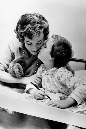 French Actress Micheline Presle with Daughter Tonie Marshall (7) August 9, 1958