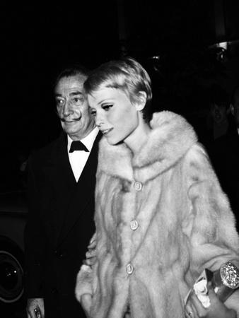 "Salvador Dali and Mia Farrow at the Premiere of the Film ""The Night of the Generals"", Paris"