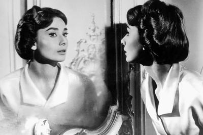 Actress Audrey Hepburn Looking at Her Reflection in the Mirror January 16, 1957