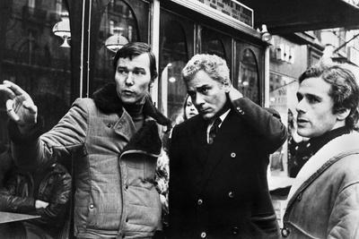 """Yves Boisset Directing Gian Maria Volente and Denis Manuel in a Scene from the Movie """"L'Attentat"""""""