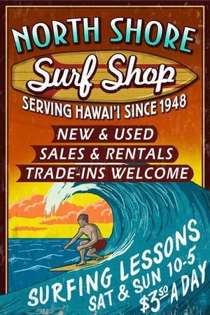 North Shore, Hawai'i - Surf Shop Vintage Sign