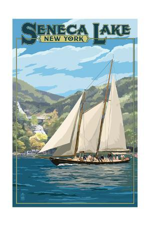 Seneca Lake, New York - Sailboat Scene