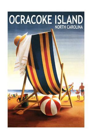 Ocracoke, North Carolina - Beach Chair and Ball