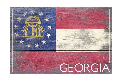 Georgia State Flag - Barnwood Painting