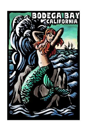 Bodega Bay, California - Mermaid - Scratchboard