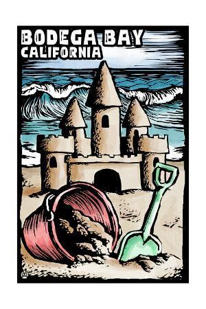 Bodega Bay, California - Sandcastle - Scratchboard