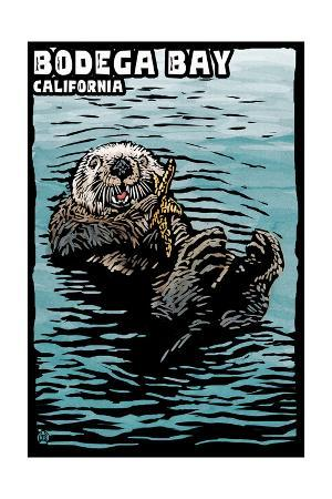 Bodega Bay, California - Sea Otter - Scratchboard
