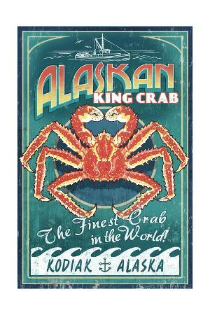 Kodiak, Alaska - King Crab Vintage Sign
