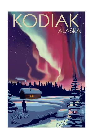 Kodiak, Alaska - Northern Lights and Cabin