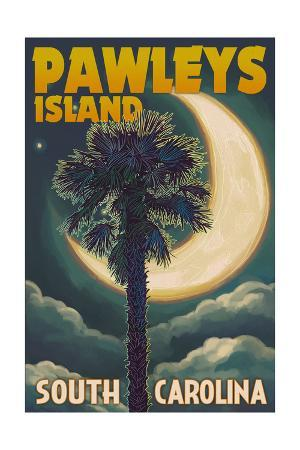 Pawleys Island, South Carolina - Palmetto Moon and Palm