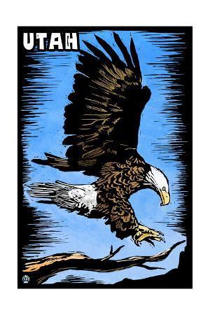 Utah - Bald Eagle - Scratchboard