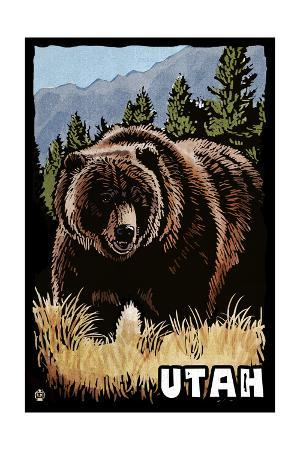 Utah - Grizzly Bear - Scratchboard