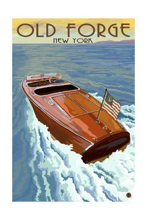 Old Forge, New York - Wooden Boat on Lake