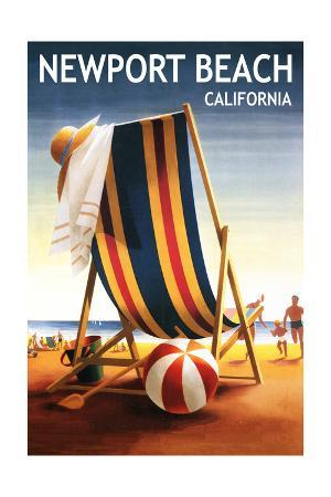 Newport Beach, California - Beach Chair and Ball
