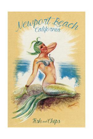 Newport Beach, California - Vintage Mermaid