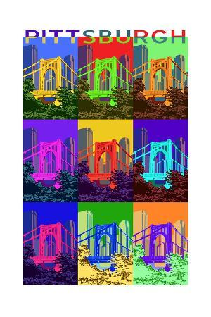 Pittsburgh, Pennsylvania - 10th Street Bridge Pop Art