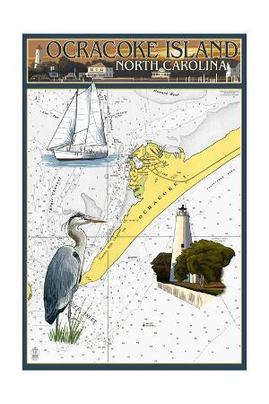 Ocracoke Island, North Carolina - Nautical Chart