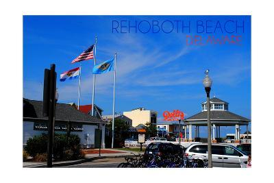 Rehoboth Beach, Delaware - Bandstand and Flags