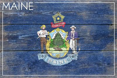 Maine State Flag - Barnwood Painting