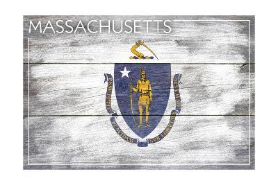 Massachusetts State Flag - Barnwood Painting