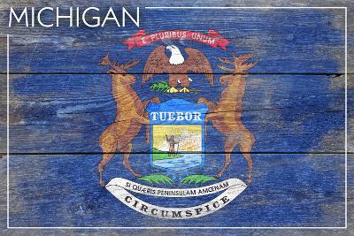 Michigan State Flag - Barnwood Painting