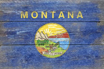 Montana State Flag - Barnwood Painting