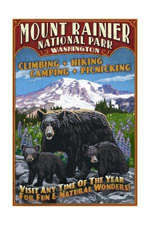 Mount Rainier National Park - Bear Family Vintage Sign